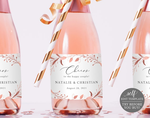 Mini Champagne Label Template, Rose Gold Foliage, Editable Instant Download, TRY BEFORE You BUY