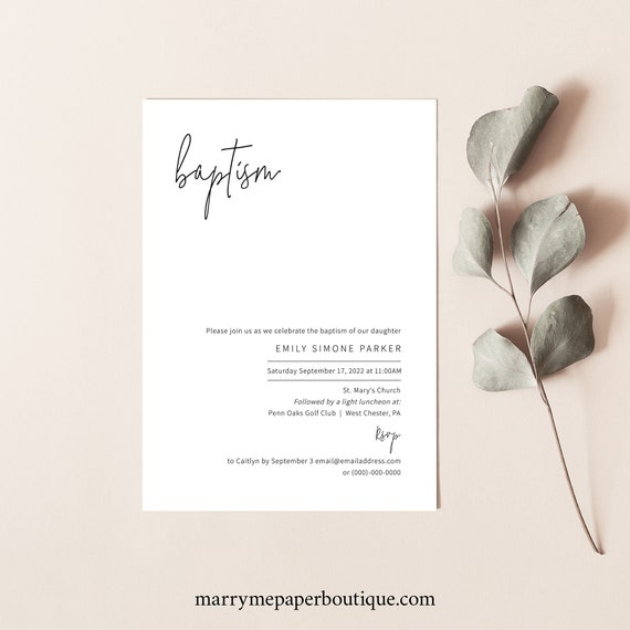 Baptism Invitation Template, Minimalist Elegant, Editable & Printable Instant Download, Try Before Purchase