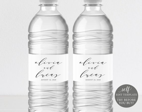 Water Bottle Label Template, Elegant Script, TRY BEFORE You BUY, Editable Instant Download