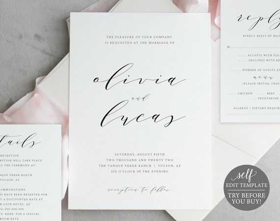 Wedding Invitation Template, TRY BEFORE You BUY, Instant Download, 100% Editable Template, Printable Invitation Set, Rsvp & Detail Cards