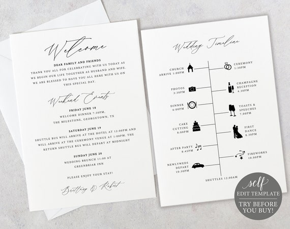 Itinerary & Welcome Card Template, TRY BEFORE You BUY, 100%  Editable Instant Download, Stylish Script Font