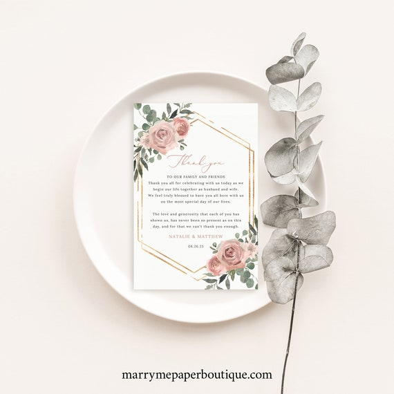 Wedding Thank You Letter Template, Dusky Pink Floral,  Thank You Note Card, Printable, Templett INSTANT Download, Editable