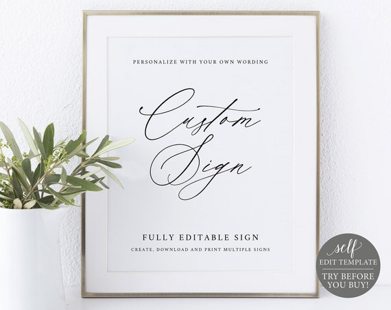 Create MULTIPLE Signs Template, 8x10 Stylish Script, Try BEFORE You Buy, Editable Instant Download