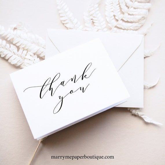 Elegant Thank You Card Template, Folded, Fully Editable Instant Download, TRY BEFORE You BUY