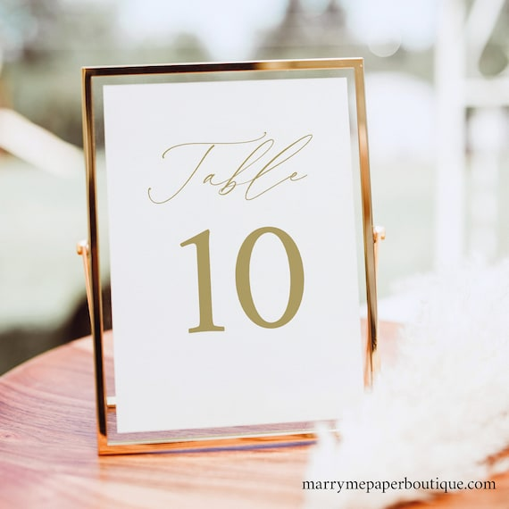 Table Number Template, Demo Available, Printable Editable Instant Download, Stylish Gold Script