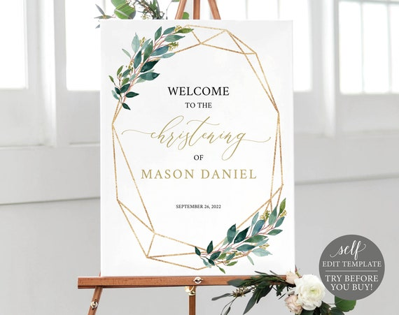 Christening Welcome Sign Template, Greenery Geometric, Printable & Editable Instant Download, Demo Available