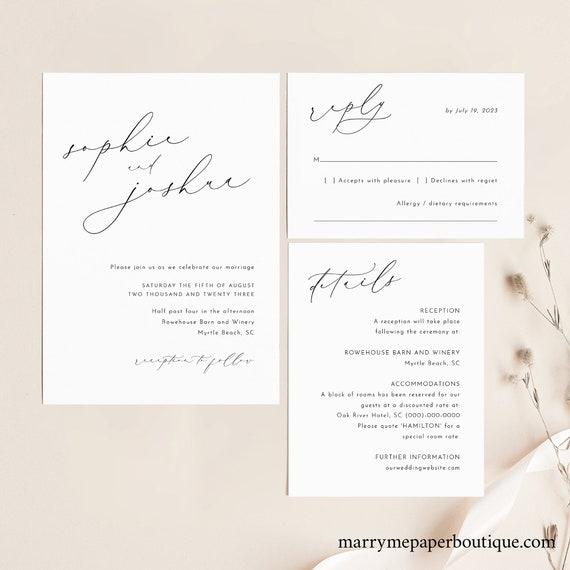Wedding Invitation Template Set, Luxury Calligraphy, Elegant Wedding Invitation Suite, Printable, Editable, Templett INSTANT Download