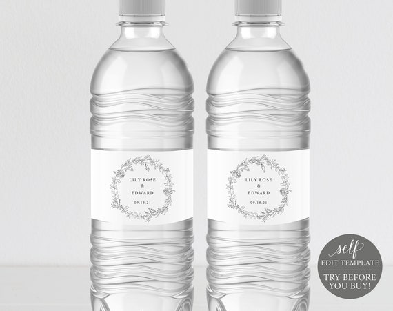 Water Bottle Label Template, Botanical Floral, TRY BEFORE You BUY, Fully Editable Instant Download