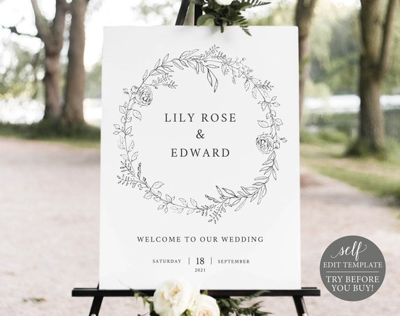 Wedding Welcome Sign Template, Botanical Floral, Editable Instant Download, TRY BEFORE You BUY