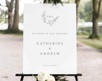 Wedding Welcome Sign Template, Elegant Monogram Design, Demo Available, Templett Instant Download, Editable & Printable