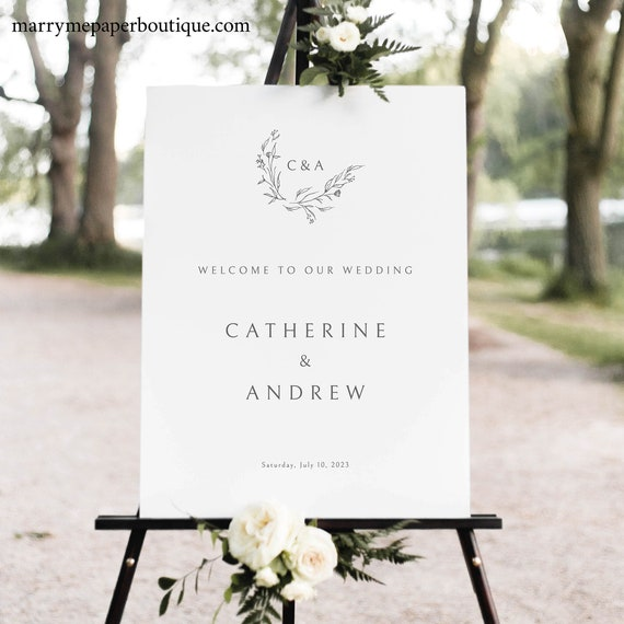 Wedding Welcome Sign Template, Elegant Monogram Design, Demo Available, Templett Instant Download, Editable & Printable