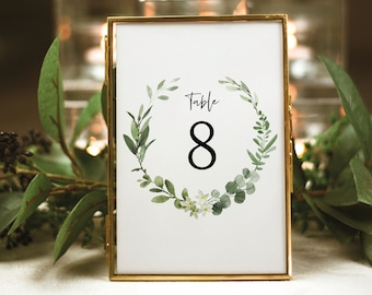 Table Number Sign Template, Elegant Greenery, Templett Instant Download, Editable & Printable, Demo Available