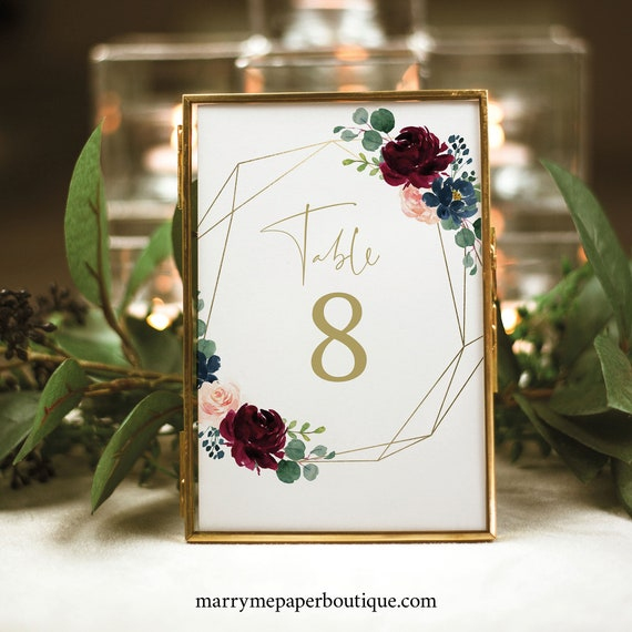 Burgundy Table Number Sign Template, Table Number Card Printable, Geometric, Navy, Editable, Templett, INSTANT Download