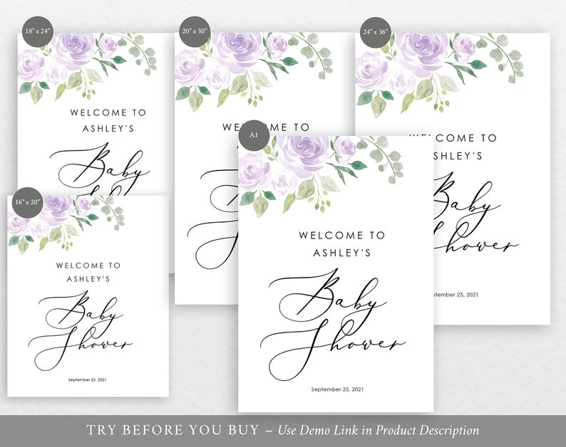 TRY BEFORE You BUY Baby Shower Welcome Sign Template Mauve /& Lilac Floral Editable Instant Download