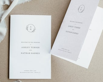 Wedding Program Template, Folded Program Printable, Try Before Purchase, Templett Instant Download, Circle Monogram Design