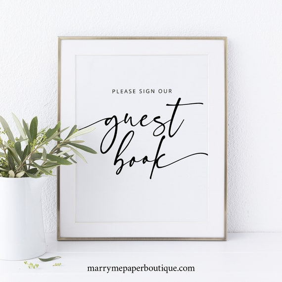 Guest Book Sign Template, Modern Calligraphy, Printable, Instant Download, Non-Editable