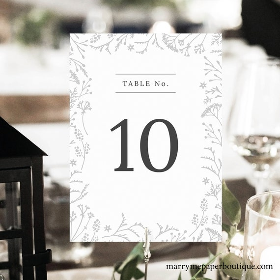 Winter Table Number Template, Wedding Botanical, Printable Table Number Sign, INSTANT Download, Templett, Editable