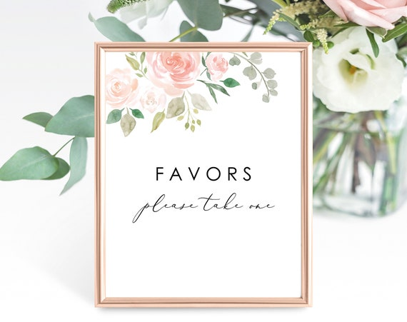 Floral Wedding Favor Sign Template, Printable Wedding Favors Sign, Wedding Favor Please Take One Sign, Floral, PDF Instant Download, MM08-3