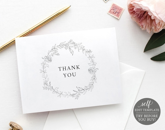 Thank You Card Template, Folded, TRY BEFORE You BUY, Botanical Floral, Editable Instant Download