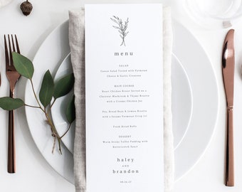 Wedding Menu Template Tall, Modern Rustic Design, Templett Instant Download, Editable Menu Printable, Try Before Purchase