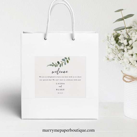 Eucalyptus Wedding Welcome Bag Label Template, Modern Guest Bag Label Printable, Templett, Editable, Instant Download