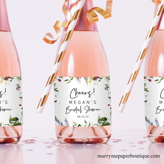 Mini Champagne Label Template, Summer Garden Greenery, Bridal Shower Champagne, Printable Bottle Label, Templett Instant Download, Editable