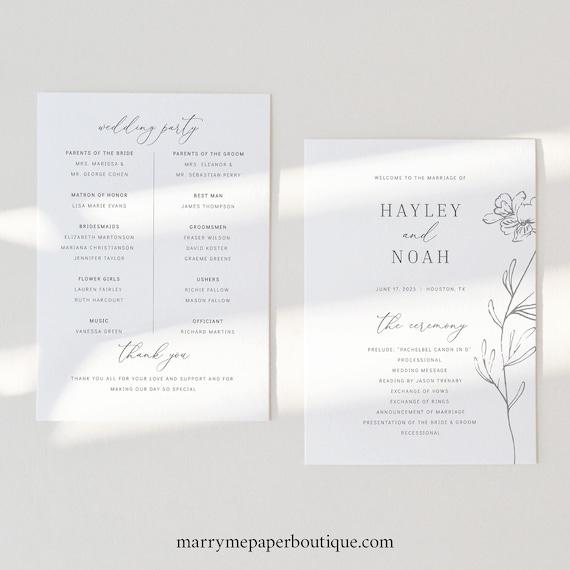 Wedding Program Template, Elegant Botanical, 5x7, Wedding Ceremony Program, Printable, Templett INSTANT Download, Fully Editable