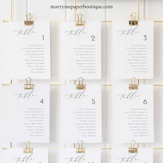 Seating Cards Template, Luxury Calligraphy, Elegant Wedding Seating Chart Cards, Printable, Editable, Templett INSTANT Download