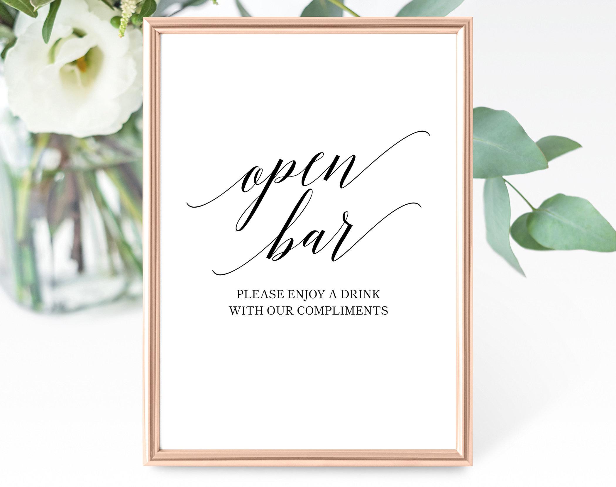 Open Bar Sign Template Printable Wedding Bar Sign