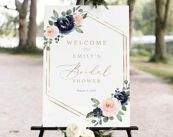 Bridal Shower Welcome Sign Template, Navy & Blush Floral, Bridal Shower Sign Printable, Editable, Templett INSTANT Download