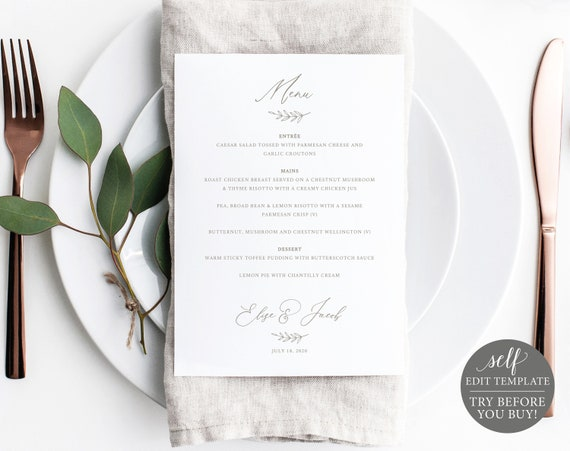 Wedding Menu Template, 5x7 Elegant Font Design, TRY BEFORE You BUY, 100% Editable Instant Download