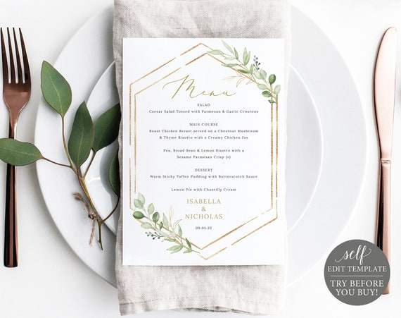 Menu Template, 5x7 Greenery Hexagonal, Templett, Editable & Printable Instant Download, TRY BEFORE You Buy