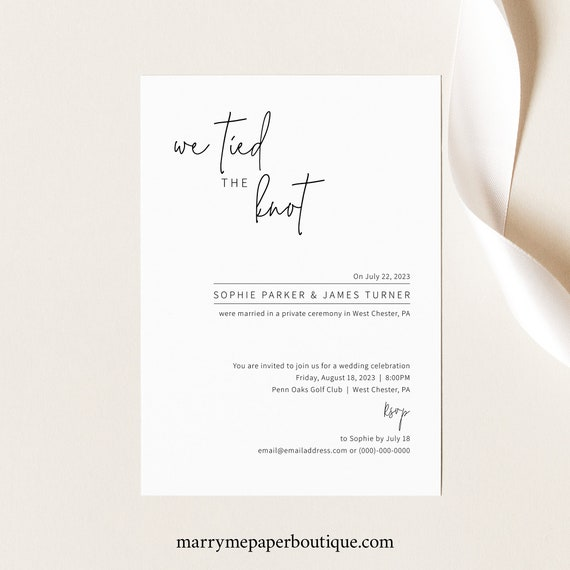 Wedding Announcement Template, Elegant Minimalist, We Tied The Knot, Reception Party Invitation Printable, Templett INSTANT Download
