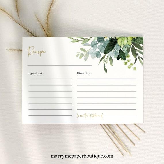 Recipe Card Template, Lush Greenery, Recipe Card Printable, Green Foliage, Editable, Templett INSTANT Download