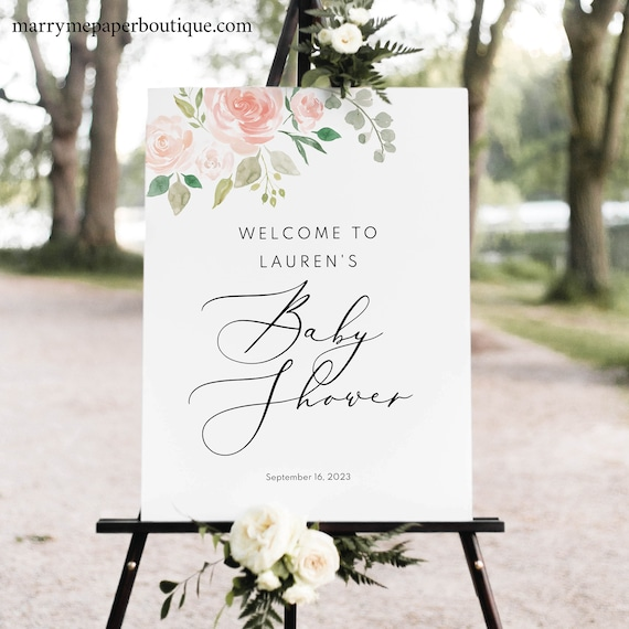Baby Shower Sign Template, TRY BEFORE You BUY, Editable Instant Download, Blush Pink Floral