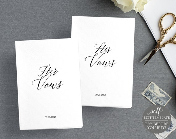 Wedding Vows Card Template, His & Hers, 100% Editable Instant Download, TRY BEFORE You BUY