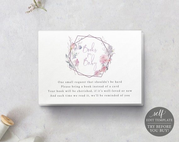 Books for Baby Card Template, Pink & Lilac Floral, Editable Instant Download, TRY BEFORE You BUY