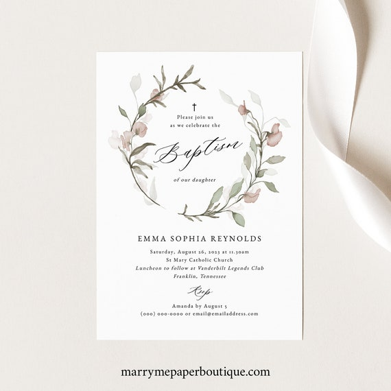 Blush Floral Baptism Invitation Template, Greenery, Baptism Invite, Printable, Templett INSTANT Download, Editable