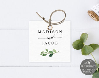 Square Label / Monogram Tag Template, Greenery Leaf, Editable Instant Download, TRY BEFORE You BUY