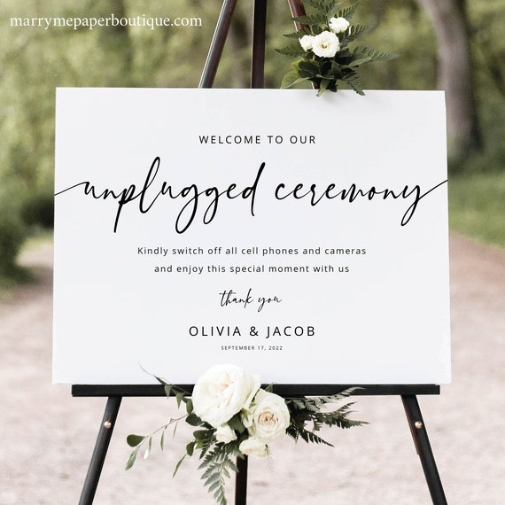 Unplugged Ceremony Sign Template, Modern Calligraphy, Templett Instant Download, Editable Sign Printable, Try Before Purchase
