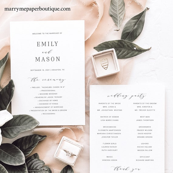 Wedding Program Template, Formal & Elegant Wedding Ceremony Program, Printable, Templett INSTANT Download, Elegant, 5x7, Fully Editable