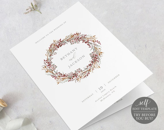 Wedding Program Template, Winter Wedding Ceremony Printable, 100% Editable, Instant Download, TRY BEFORE You BUY