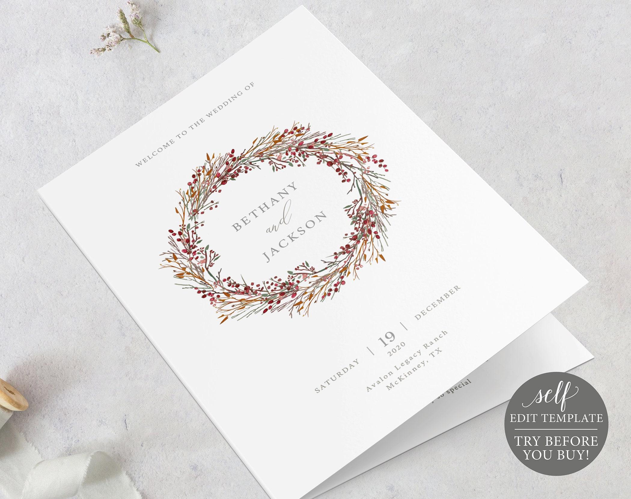 wedding program template winter wedding ceremony printable 100