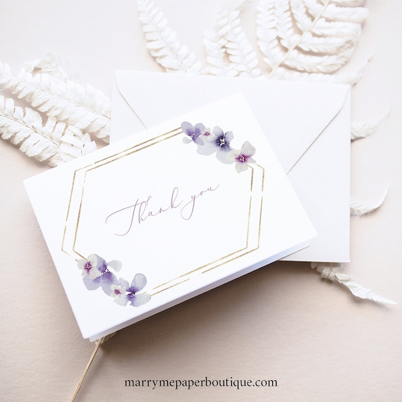 Thank You Card Template, Delicate Lilac Flowers, Folding Thank You Card, Printable, Purple Hydrangea, Editable, Templett INSTANT Download