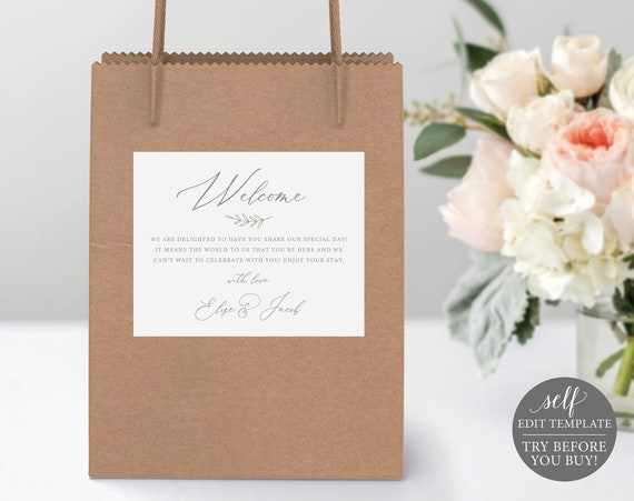 Welcome Bag Label Template, Elegant Font, Editable Instant Download, TRY BEFORE You BUY