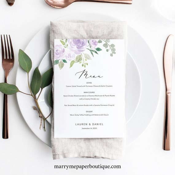Wedding Menu Template 5x7, TRY BEFORE You BUY, Mauve & Lilac Floral, Editable Instant Download