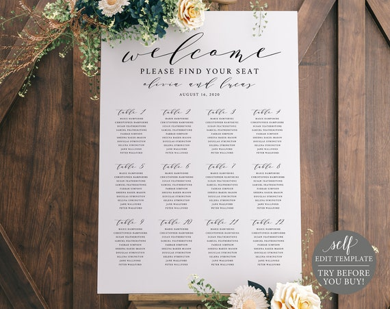 Wedding Seating Plan Sign Template, TRY BEFORE You BUY, Wedding Seating Sign Poster Printable, 100% Editable Instant Download