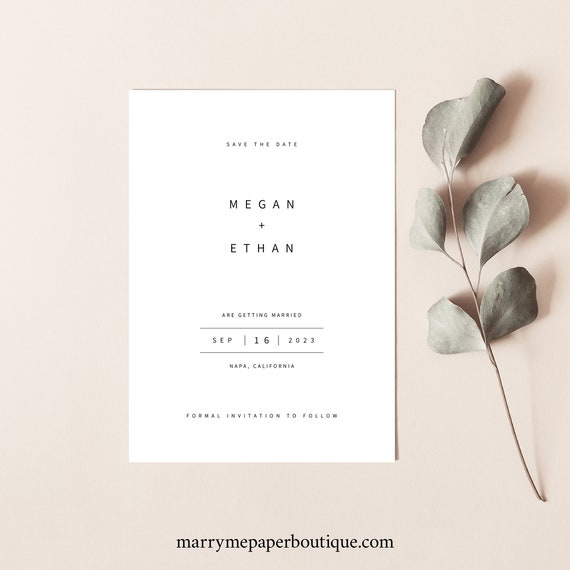 Minimalist Save the Date Template, Modern Save Our Date Card Printable, Templett Instant Download, Try Before Purchase