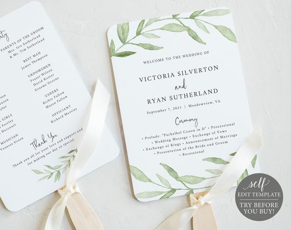 Wedding Program Fan Template, Greenery Leaves,  Editable Instant Download, TRY BEFORE You BUY