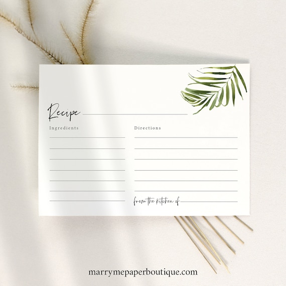 Tropical Recipe Card Template, Greenery Recipe Card Printable, Templett, Editable, Instant Download